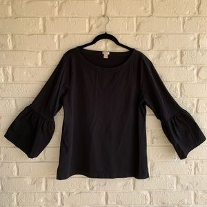 J Crew Factory Black Bell 3/4 Sleeve 100% Cotton